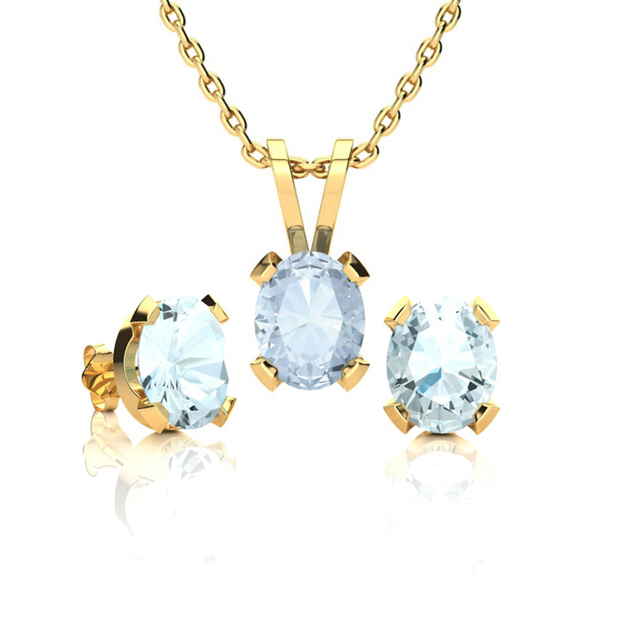 1 1/3 Carat Oval Shape Aquamarine Necklace & Earring Set in 14K Yellow Gold ..