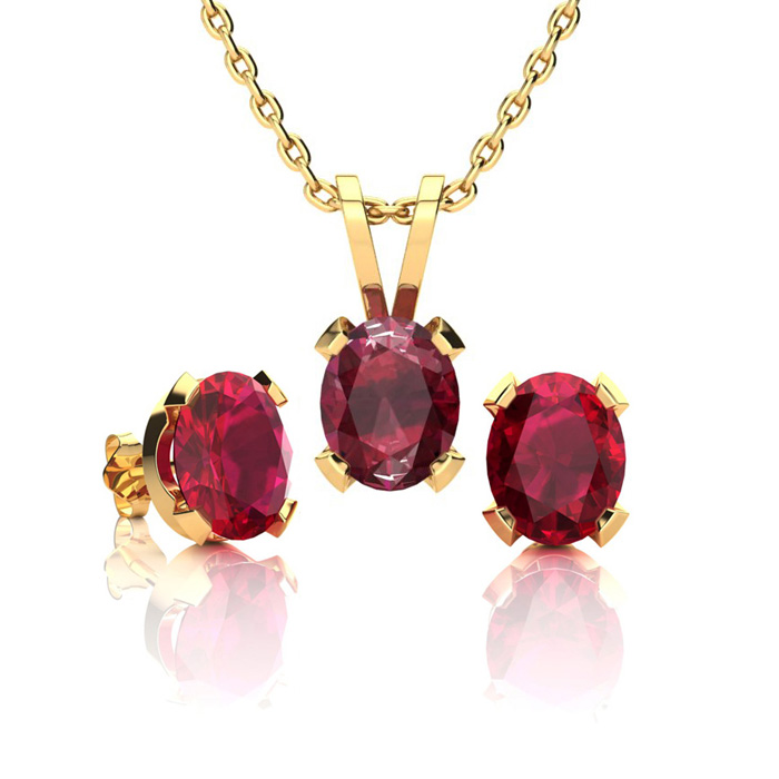 1 2/3 Carat Oval Shape Ruby Necklace & Earring Set in 14K Yellow Gold Over Sterling Silver by SuperJeweler