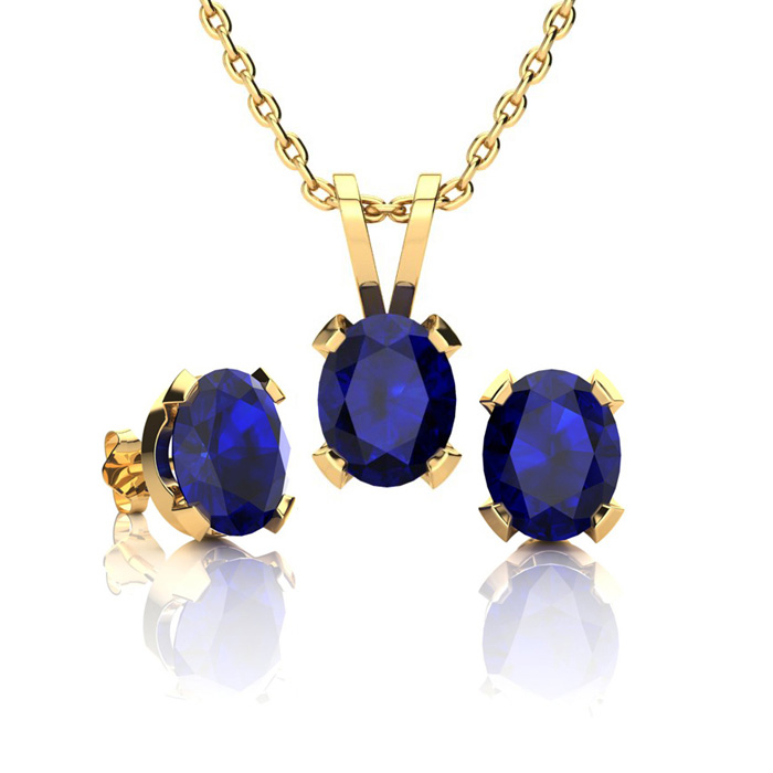 1 3/4 Carat Oval Shape Sapphire Necklace & Earring Set in 14K Yellow Gold Over Sterling Silver by SuperJeweler