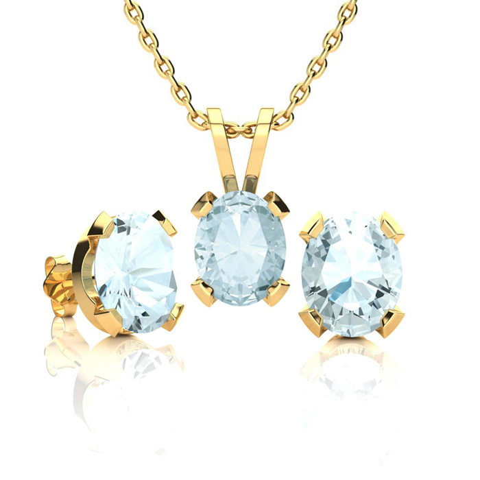 2.5 Carat Oval Shape Aquamarine Necklace & Earring Set in 14K Yellow Gold Ov..