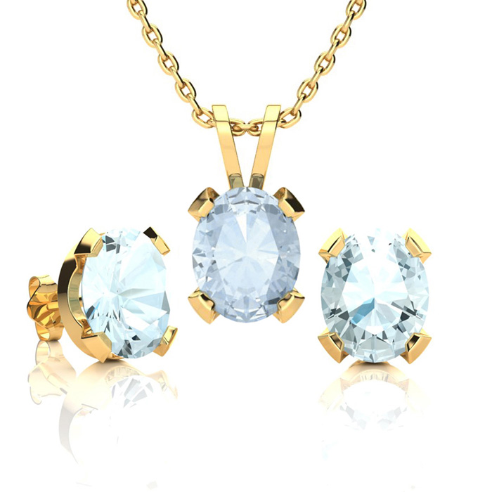 3 1/2 Carat Oval Shape Aquamarine Necklace & Earring Set in 14K Yellow Gold ..