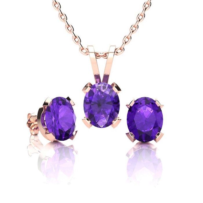 1 1/3 Carat Oval Shape Amethyst Necklace & Earring Set in 14K Rose Gold Over Sterling Silver by SuperJeweler