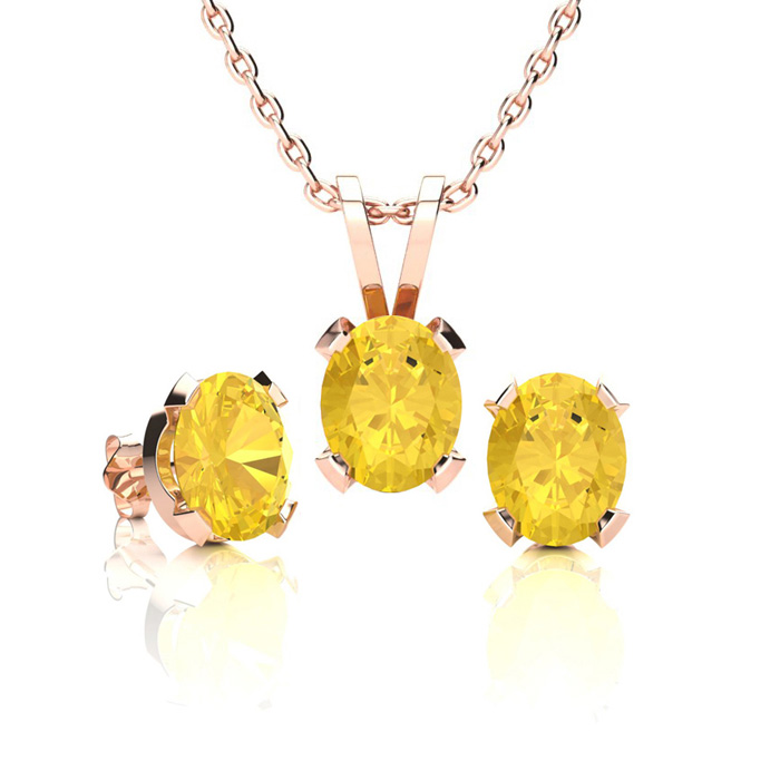 1 1/3 Carat Oval Shape Citrine Necklace & Earring Set in 14K Rose Gold Over Sterling Silver by SuperJeweler