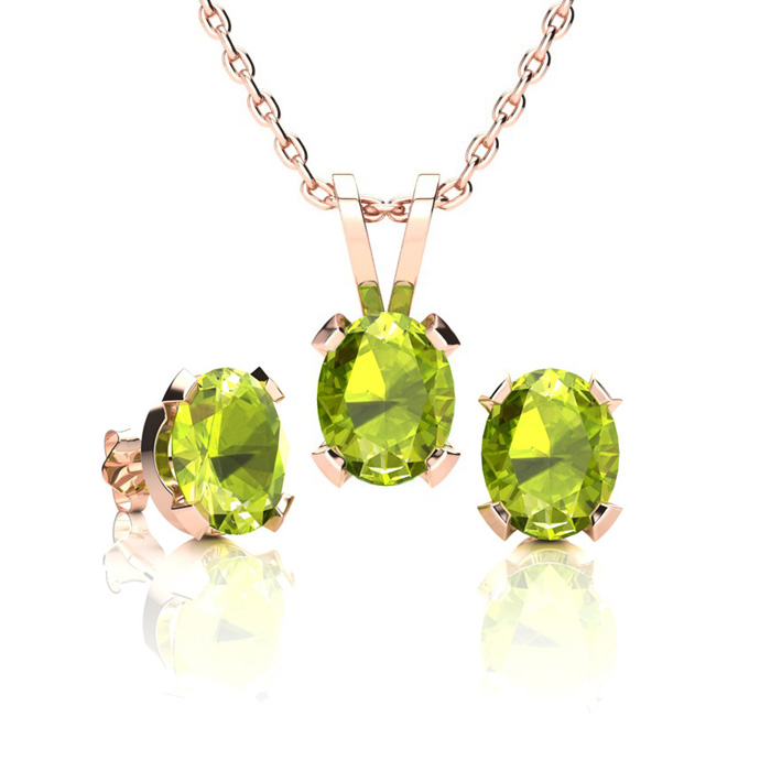 1.5 Carat Oval Shape Peridot Necklace & Earring Set in 14K Rose Gold Over Sterling Silver by SuperJeweler