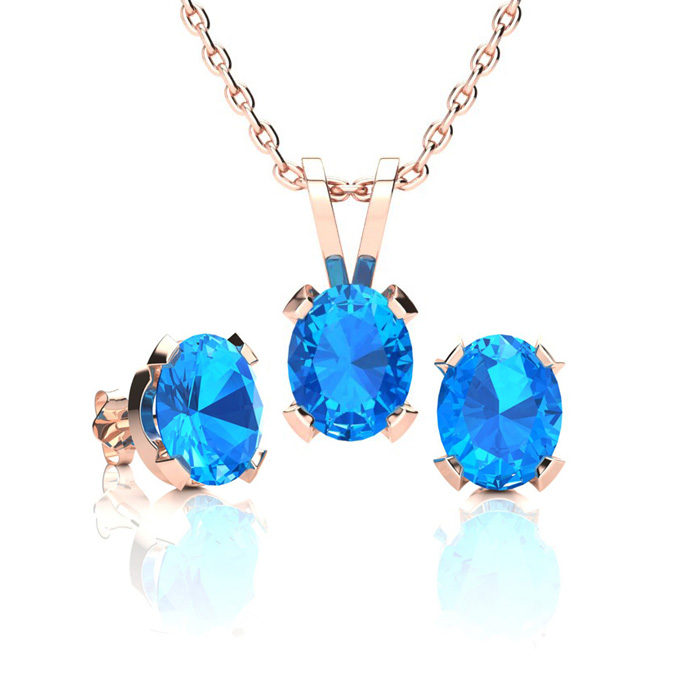 1 2/3 Carat Oval Shape Blue Topaz Necklace & Earring Set in 14K Rose Gold Over Sterling Silver by SuperJeweler