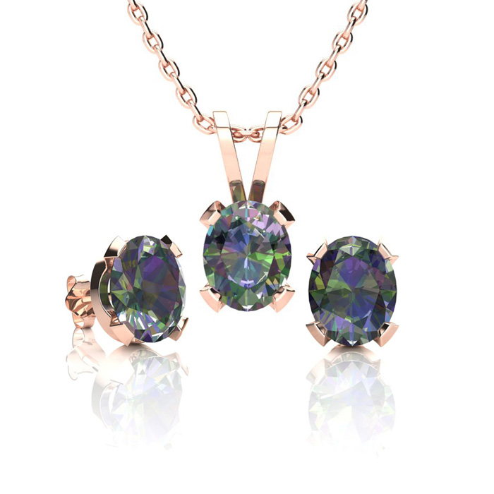 1 1/3 Carat Oval Shape Mystic Topaz Necklace & Earring Set in 14K Rose Gold Over Sterling Silver by SuperJeweler