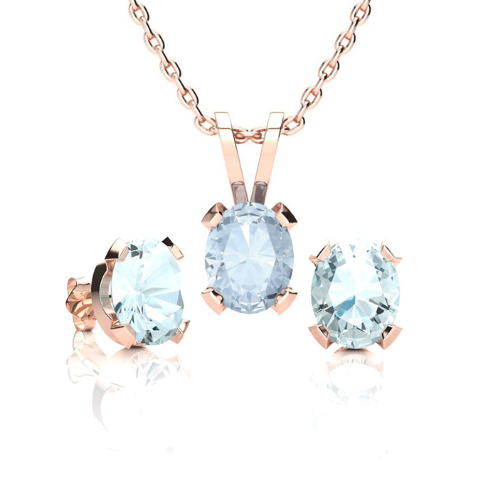 1 1/3 Carat Oval Shape Aquamarine Necklace & Earring Set in 14K Rose Gold Ov..
