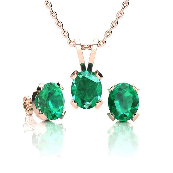 1 1/3 Carat Oval Shape Emerald Necklace & Earring Set in 14K Rose Gold Over Sterling Silver by SuperJeweler