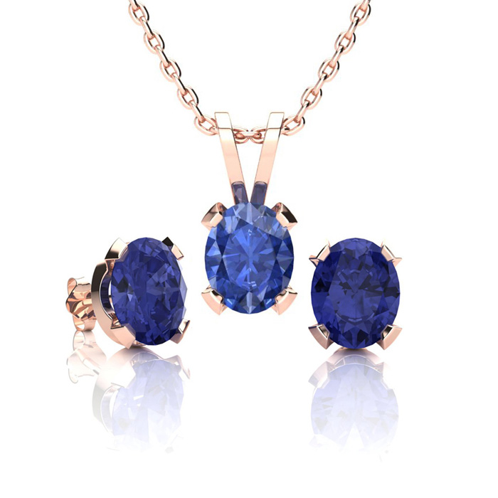 1 2/3 Carat Oval Shape Tanzanite Necklace & Earring Set in 14K Rose Gold Over Sterling Silver by SuperJeweler