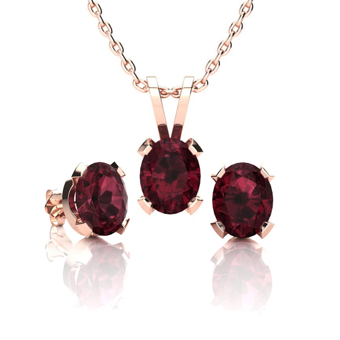 1 2/3 Carat Oval Shape Garnet Necklace & Earring Set in 14K Rose Gold Over Sterling Silver by SuperJeweler