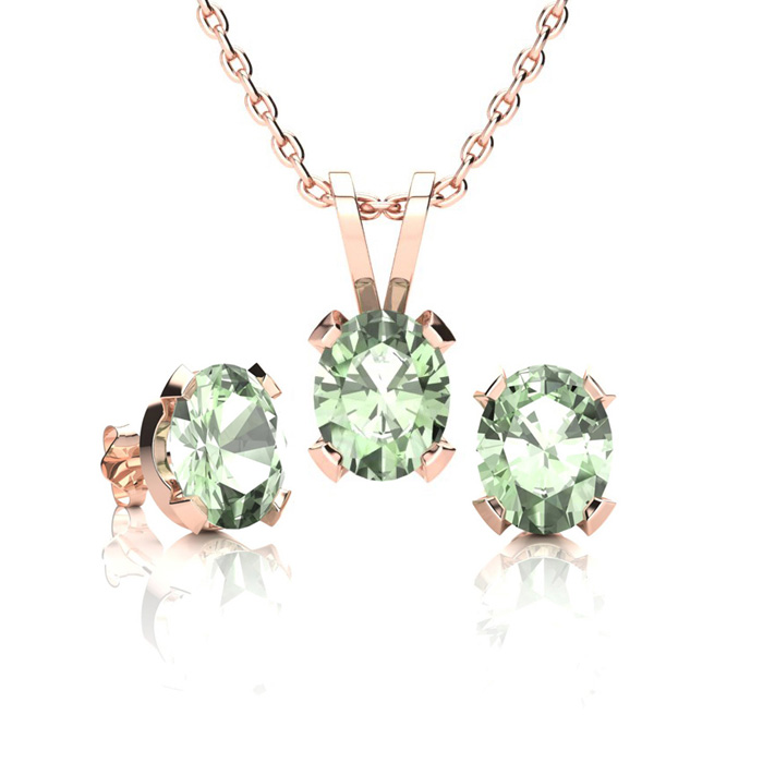 1 1/3 Carat Oval Shape Green Amethyst Necklace & Earring Set in 14K Rose Gold Over Sterling Silver by SuperJeweler