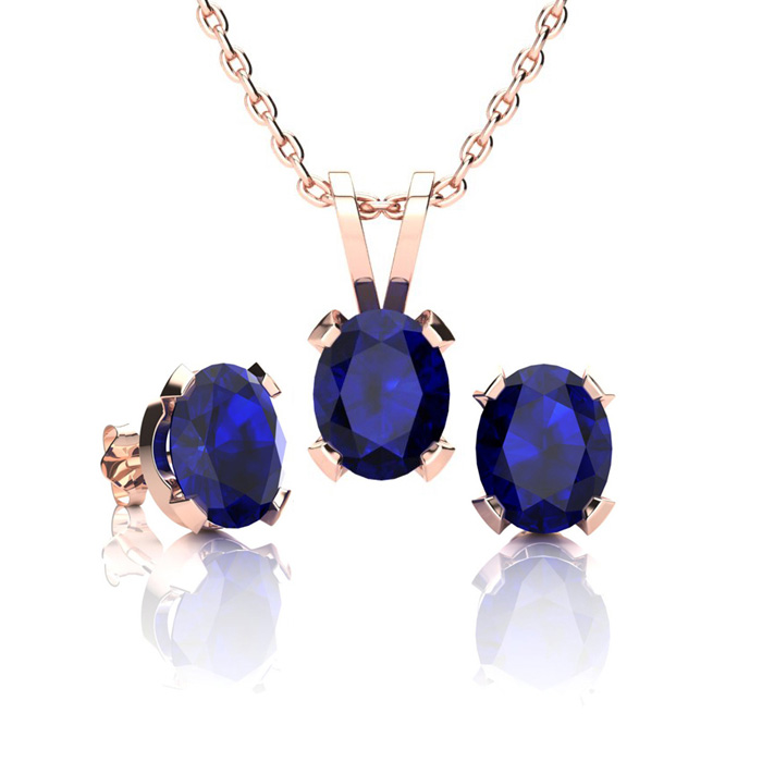 1 3/4 Carat Oval Shape Sapphire Necklace & Earrings Set in 14K Rose Gold Over Sterling Silver by SuperJeweler