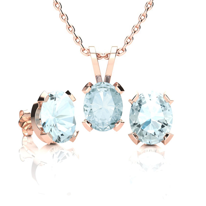 2.5 Carat Oval Shape Aquamarine Necklace & Earring Set in 14K Rose Gold Over..