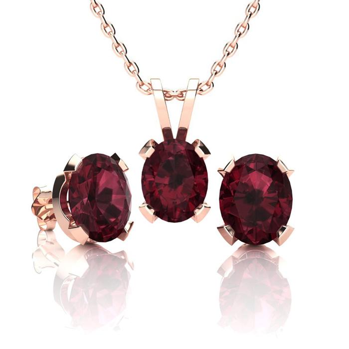 3 Carat Oval Shape Garnet Necklace & Earring Set in 14K Rose Gold Over Sterl..