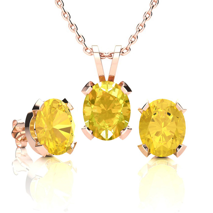 3 Carat Oval Shape Citrine Necklace and Earring Set In 14K Rose Gold Over St..
