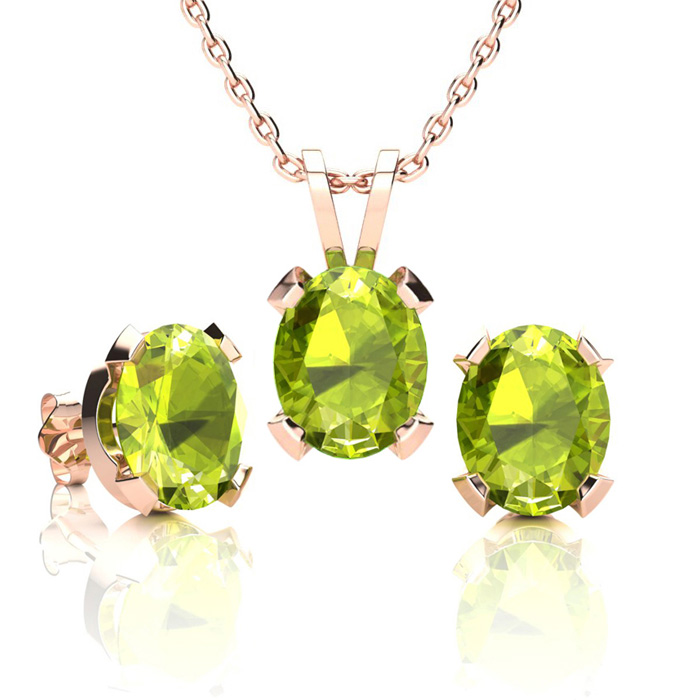 4 Carat Oval Shape Peridot Necklace and Earring Set In 14K Rose Gold Over St..