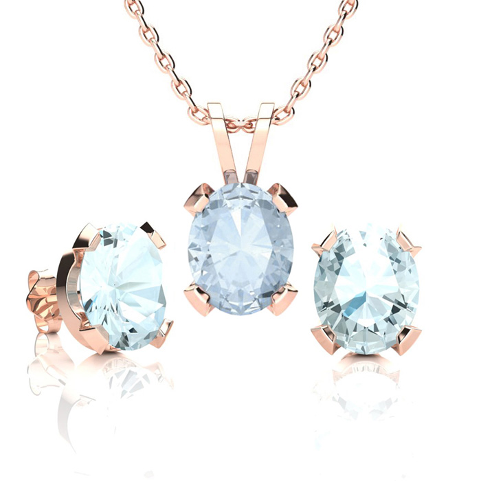 3 1/2 Carat Oval Shape Aquamarine Necklace & Earring Set in 14K Rose Gold Ov..