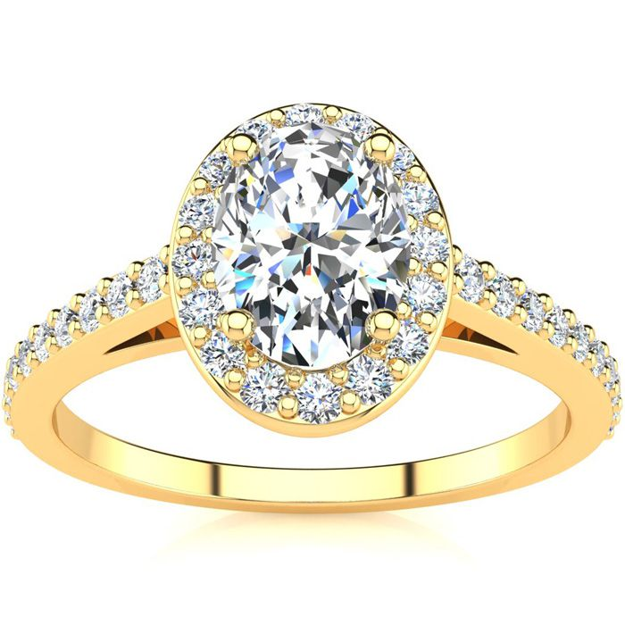 1 Carat Oval Shape Halo Diamond Engagement Ring in 14K Yellow Gol