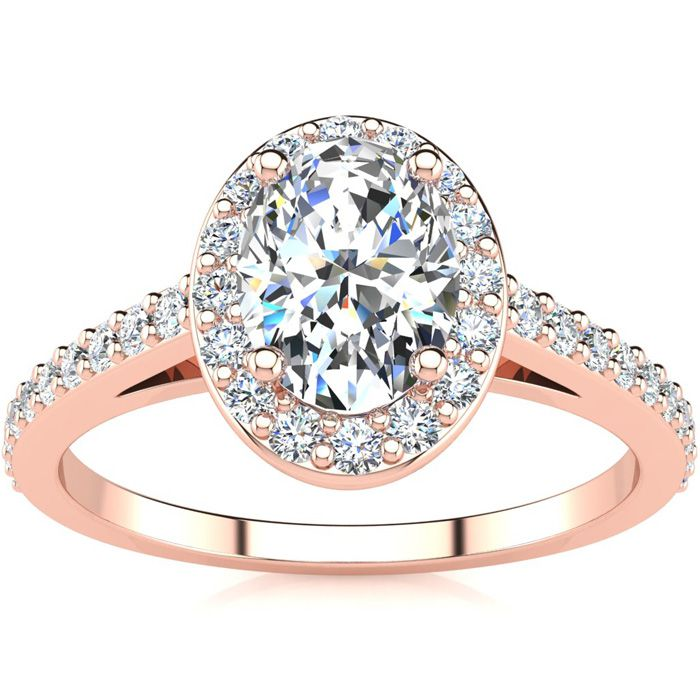1 Carat Oval Shape Halo Diamond Engagement Ring in 14K Rose Gold