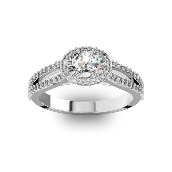 1 Carat Oval Halo Diamond Engagement Ring in 14K White Gold (3.8