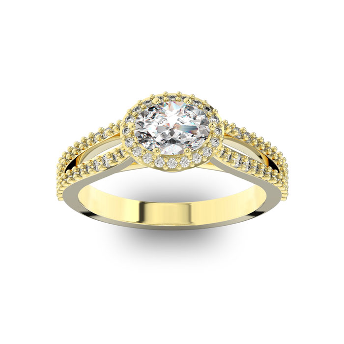 1 Carat Oval Halo Diamond Engagement Ring in 14K Yellow Gold (3.8