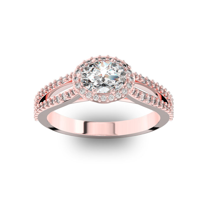 1 Carat Oval Halo Diamond Engagement Ring in 14K Rose Gold (3.8 g