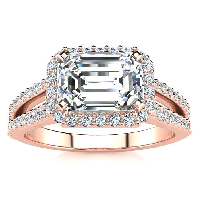 1.5 Carat Halo Diamond Engagement Ring in 14K Rose Gold (3.9 g),