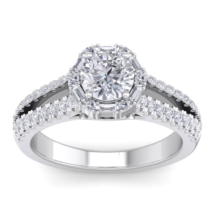1.5 Carat Fancy Halo Diamond Engagement Ring in 14K White Gold (5