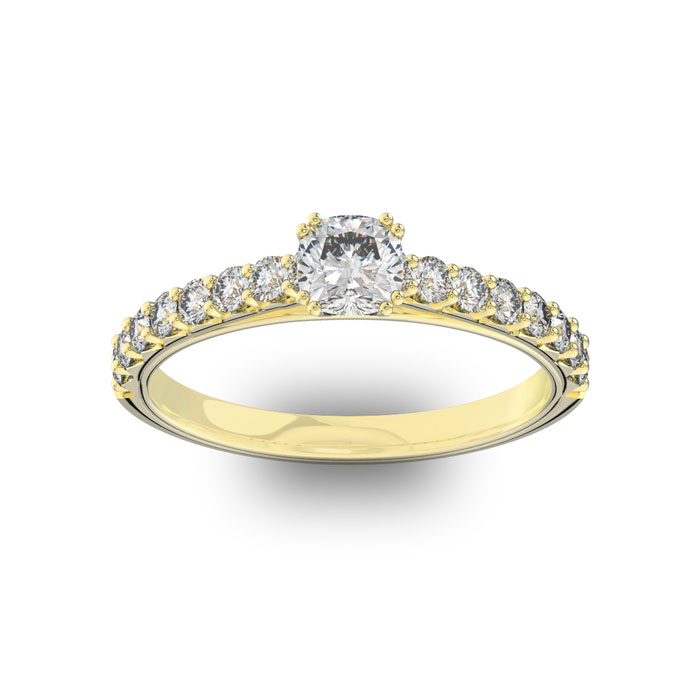1 Carat Cushion Cut Double Prong Set Engagement Ring in 14K Yello