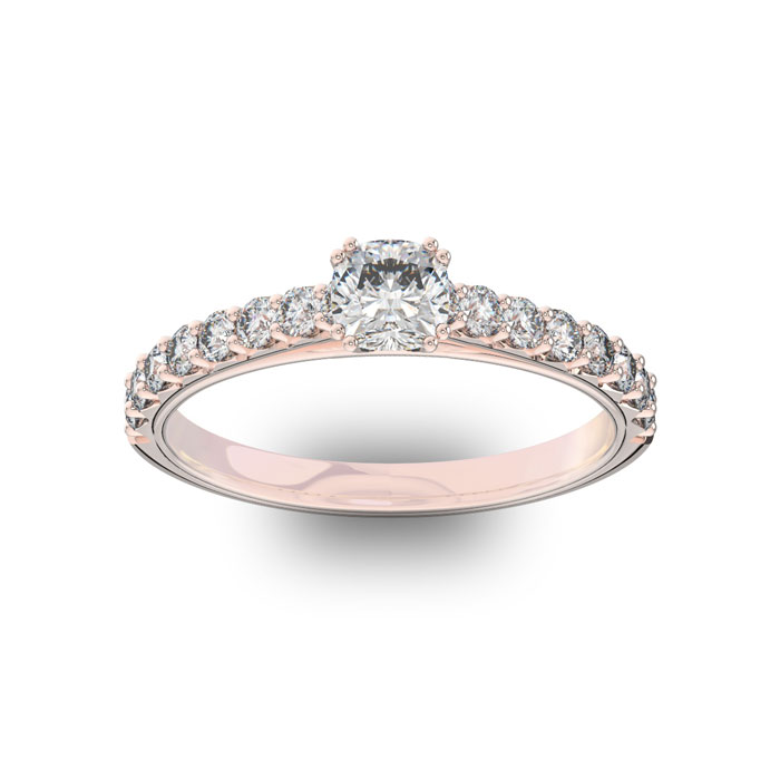 1 Carat Cushion Cut Double Prong Set Engagement Ring in 14K Rose