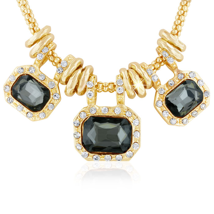 18K Gold Plated Smoky Glass & Crystal Statement Necklace, 18 Inch