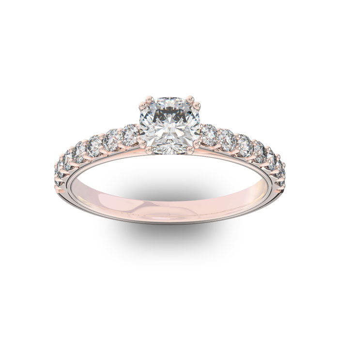 1.25 Carat Cushion Cut Double Prong Set Engagement Ring in 14K Ro