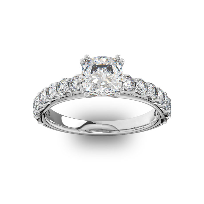 1.5 Carat Cushion Cut Double Prong Set Engagement Ring in 14K White Gold (3.4 g) (