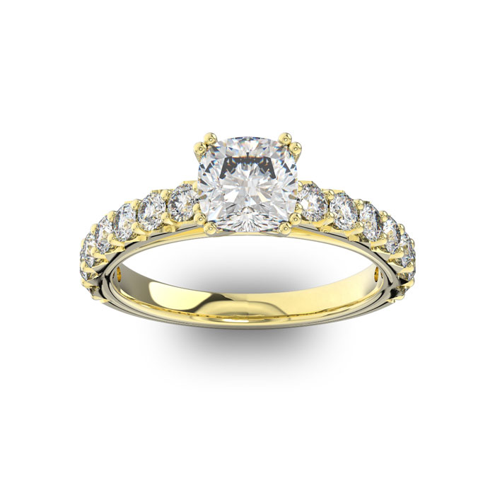 1.5 Carat Cushion Cut Double Prong Set Engagement Ring in 14K Yellow Gold (3.4 g) (
