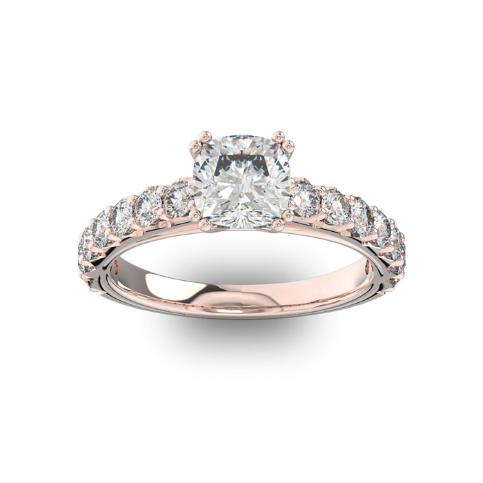 1.5 Carat Cushion Cut Double Prong Set Engagement Ring in 14K Rose Gold (3.4 g) (H-I, SI2-I1) by SuperJeweler