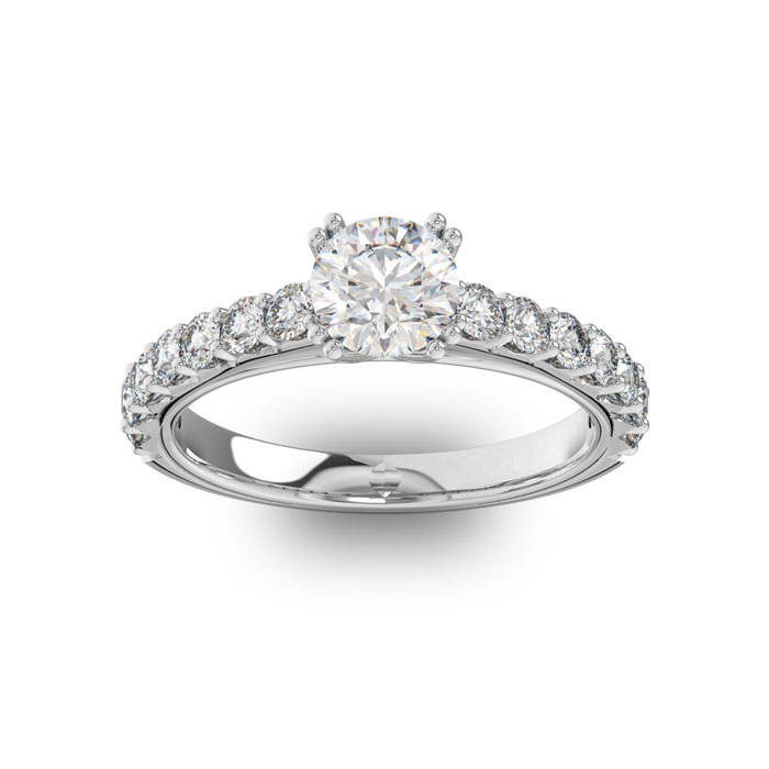 1.5 Carat Round Shape Double Prong Set Engagement Ring in 14K Whi