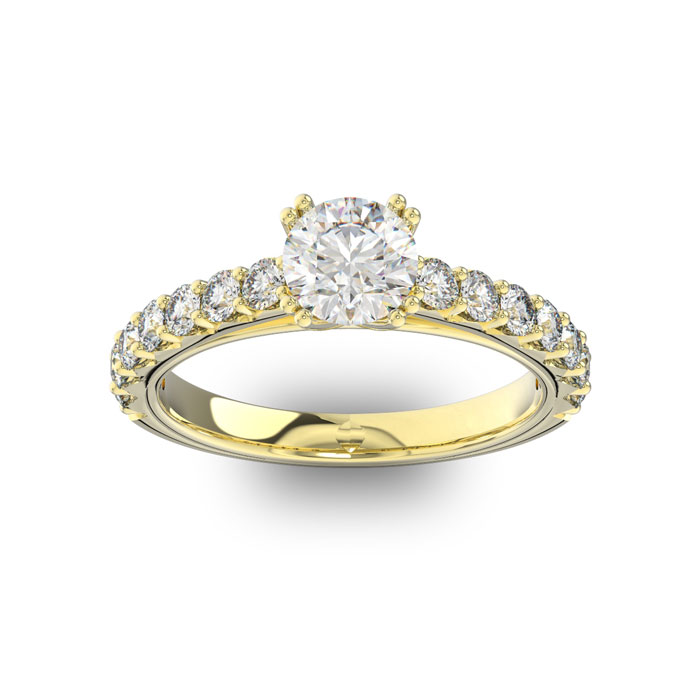 1.5 Carat Round Shape Double Prong Set Engagement Ring in 14K Yellow Gold (3.7 g) (