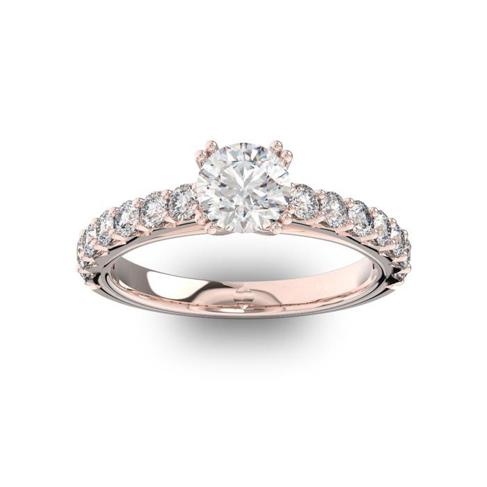 1 1/2 Carat Round Shape Double Prong Set Engagement Ring In 14 Karat Rose Gold