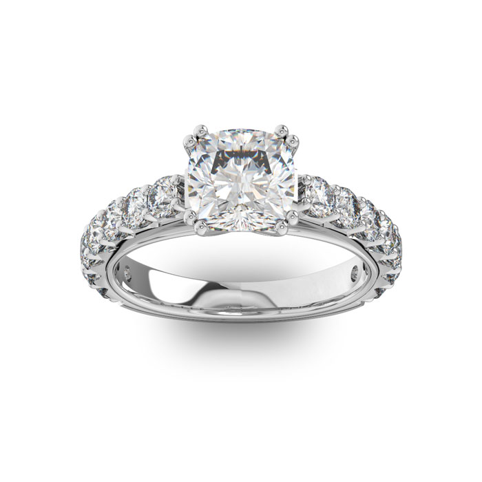 Image of 4 1/2 Carat Round Shape Double Prong Set Engagement Ring In 14 Karat White Gold