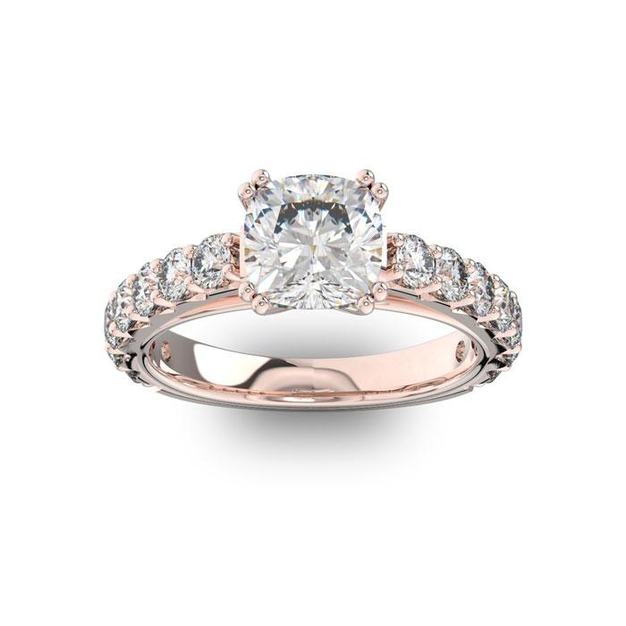 Image of 4 1/2 Carat Round Shape Double Prong Set Engagement Ring In 14 Karat Rose Gold