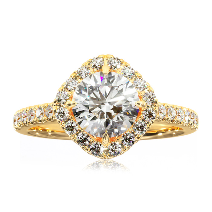1 1/3 Carat Cushion Cut Style Halo Diamond Engagement Ring in 14K Yellow Gold (3.5 g) (H-I, SI2-I1) by SuperJeweler