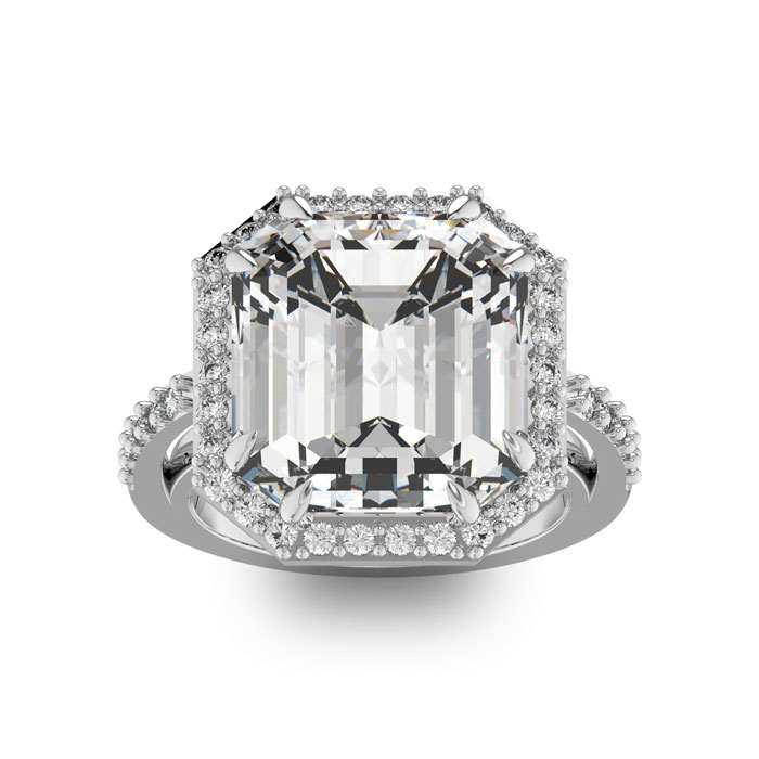 Image of 12.65 Carat Octagon Halo Diamond Engagement Ring in 18 Karat White Gold
