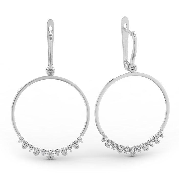 14k White Gold (10.4 g) 1 1/3 Carat Diamond Circle Dangle Earrings, H/I by SuperJeweler