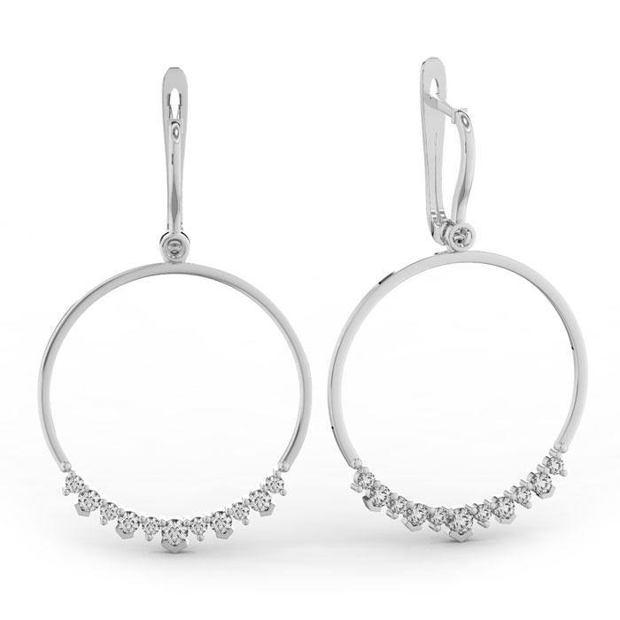 14k White Gold (10.4 g) 1 1/3 Carat Diamond Circle Dangle Earring