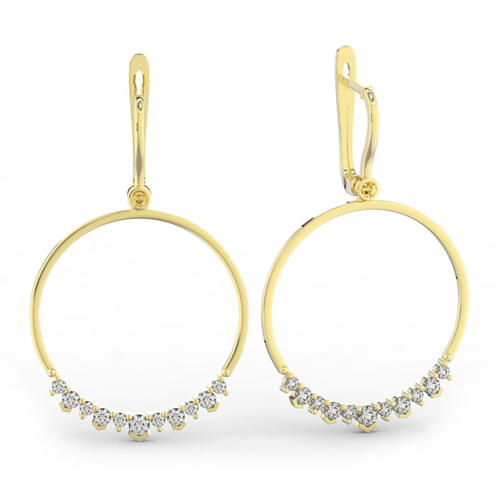 14k Yellow Gold (10.4 g) 1 1/3 Carat Diamond Circle Dangle Earrin