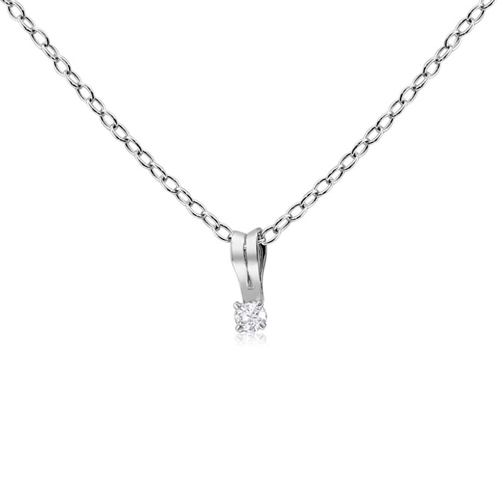 Image of .025 Carat Diamond Necklace In Sterling Silver, 18 Inches.