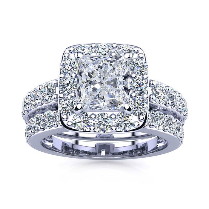 3 1/2 Carat Radiant Cut Halo Diamond Bridal Engagement Ring Set in 14k White Gold (9.4 g) (I-J, I1-I2 Clarity Enhanced) by SuperJeweler