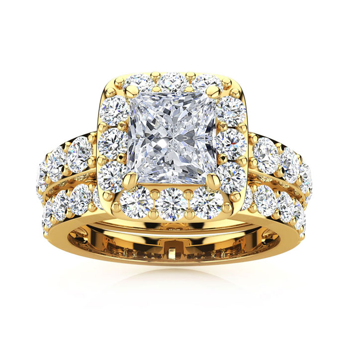 3 1/2 Carat Radiant Halo Diamond Bridal Set in 14k Yellow Gold