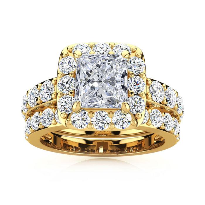 3 1/2 Carat Radiant Cut Halo Diamond Bridal Engagement Ring Set in 14k Yellow Gold (9.4 g) (I-J, I1-I2 Clarity Enhanced) by SuperJeweler