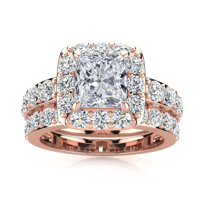 3 1/2 Carat Radiant Cut Halo Diamond Bridal Engagement Ring Set in 14k Rose Gold (9.4 g) (I-J, I1-I2 Clarity Enhanced) by SuperJeweler